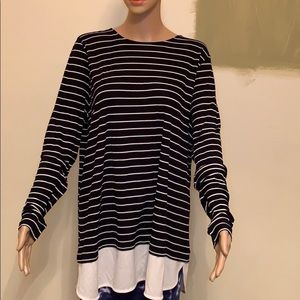Ralph Lauren two tone Long sleeve striped blouse.